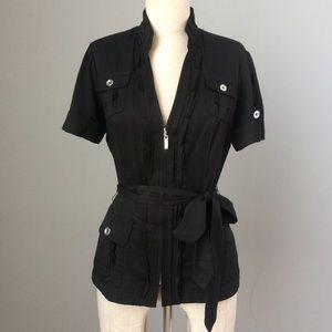 Black Zip Jacket w Sash Belt WHBM